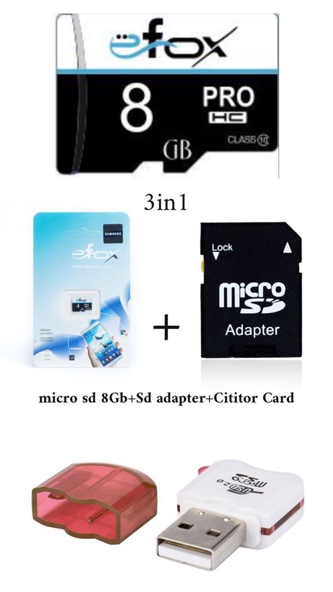Imagine Set 3in1: micro sd  card 8GB+sd adapter+micro sd cititior Card