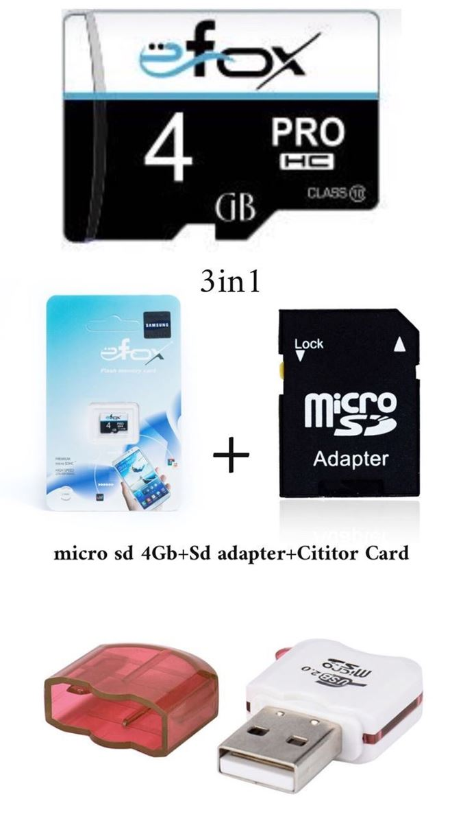 Imagine Set 3IN 1 :Micro sd 4GB+ SD adaptor+Micro sd cititor card